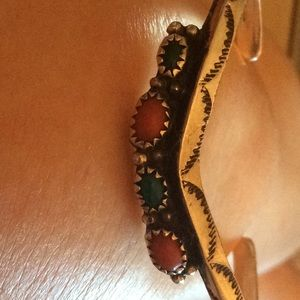 BANGLE bracelet INDIAN turquoise CUFF silver
